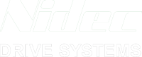 Logo for Nidec Drives in white.