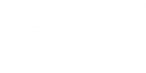 Logo of Nidec's Leroy-Somer brand in white - header.